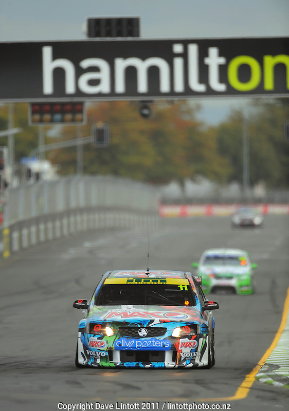 Greg Murphy drives down the home straight during practice. V8 Supercars - ITM 400 at Hamilton Street Circuit, Hamilton, New Zealand on Friday, 15 April 2011. Photo: Dave Lintott / lintottphoto.co.nz
