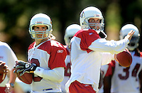 Jul 30, 2008; Flagstaff, AZ, USA; Arizona Cardinals quarterbacks Kurt Warner (left) and Matt Leinart during training camp on the campus of Northern Arizona University. Mandatory Credit: Mark J. Rebilas-