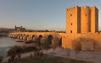 The Roman bridge, built 1st century BC over the Guadalquivir river, and the Torre de la Calahorra, a fortified city gate, built in the 12th century by the Almohads, in Cordoba, Andalusia, Southern Spain. In the distance is the Cathedral-Great Mosque of Cordoba. The first church built here by the Visigoths in the 7th century was split in half by the Moors, becoming half church, half mosque. In 784, the Great Mosque of Cordoba was built in its place, but in 1236 it was converted into a catholic church, with a Renaissance cathedral nave built in the 16th century. The historic centre of Cordoba is listed as a UNESCO World Heritage Site. Picture by Manuel Cohen