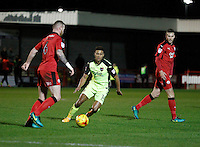 Exeter City's Ollie Watkins closes down Crawley Town's Mark Connolly during the Sky Bet League 2 match between Crawley Town and Exeter City at Broadfield Stadium, Crawley, England on 28 February 2017. Photo by Carlton Myrie / PRiME Media Images.