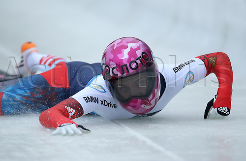 06.03.2015. Winterberg, Germany.  Skeleton racer Elena Nikitina of Russia falls off her sled at the start of the first run during the Bob & Skeleton World Championships 2015 in Winterberg, Germany, 6th March.