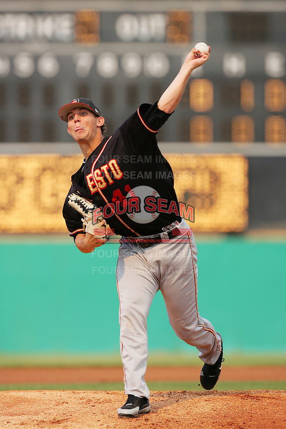 September 7 2009:  Christian Friedrich of the Modesto Nuts during game against the High Desert Mavericks at Mavericks Stadium in Adelanto,CA.  Photo by Larry Goren/Four Seam Images