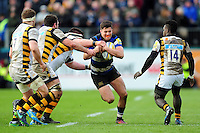Adam Hastings of Bath Rugby takes on the Wasps defence. Aviva Premiership match, between Bath Rugby and Wasps on March 4, 2017 at the Recreation Ground in Bath, England. Photo by: Patrick Khachfe / Onside Images