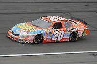 Oct. 3, 2009; Kansas City, KS, USA; NASCAR Nationwide Series driver Joey Logano during the Kansas Lottery 300 at Kansas Speedway. Mandatory Credit: Mark J. Rebilas-