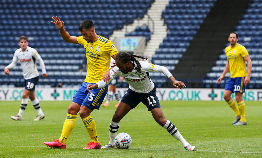 Preston North End's Daniel Johnson battles with Birmingham City's Maxime Colin<br /> <br /> Photographer Alex Dodd/CameraSport<br /> <br /> The EFL Sky Bet Championship - Leeds United v Barnsley - Thursday 16th July 2020 - Elland Road - Leeds<br /> <br /> World Copyright © 2020 CameraSport. All rights reserved. 43 Linden Ave. Countesthorpe. Leicester. England. LE8 5PG - Tel: +44 (0) 116 277 4147 - admin@camerasport.com - www.camerasport.com<br /> <br /> Photographer Alex Dodd/CameraSport<br /> <br /> The EFL Sky Bet Championship - Preston North End v Birmingham City - Saturday 18th July 2020 - Deepdale Stadium - Preston<br /> <br /> World Copyright © 2020 CameraSport. All rights reserved. 43 Linden Ave. Countesthorpe. Leicester. England. LE8 5PG - Tel: +44 (0) 116 277 4147 - admin@camerasport.com - www.camerasport.com