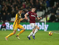 West Ham United's Declan Rice and Brighton &amp; Hove Albion's Pascal Gro&szlig;<br /> <br /> Photographer Rob Newell/CameraSport<br /> <br /> The Premier League - West Ham United v Brighton and Hove Albion - Wednesday 2nd January 2019 - London Stadium - London<br /> <br /> World Copyright &copy; 2019 CameraSport. All rights reserved. 43 Linden Ave. Countesthorpe. Leicester. England. LE8 5PG - Tel: +44 (0) 116 277 4147 - admin@camerasport.com - www.camerasport.com
