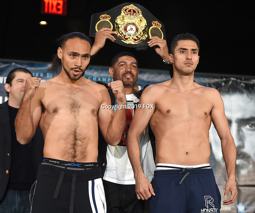 BROOKLYN - JANUARY 25: Boxers Keith Thurman and Josesito Lopez at the weigh-in for the January 26 PBC on FOX fight card at Barclays Arena on January 25, 2019, in Brooklyn, New York. (Photo by Frank Micelotta/Fox Sports/PictureGroup)