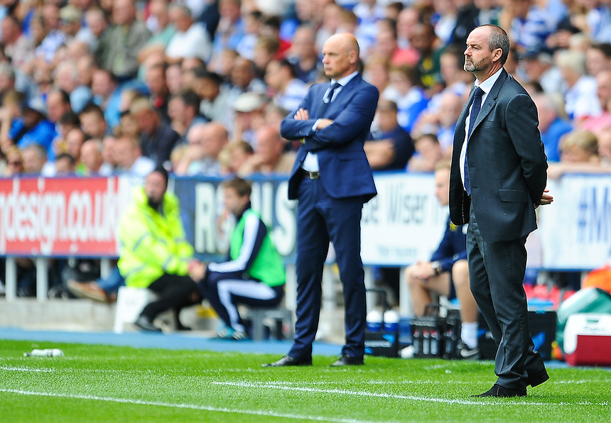 Leeds United manager Uwe R&ouml;sler  and Reading manager Steve Clarke on the touchline during todays game at The Madejski Stadium, home of Reading<br /> <br /> Photographer Craig Thomas/CameraSport<br /> <br /> Football - The Football League Sky Bet Championship - Reading v Leeds United - Sunday 16th August 2015 - Madejski Stadium - Reading<br /> <br /> &copy; CameraSport - 43 Linden Ave. Countesthorpe. Leicester. England. LE8 5PG - Tel: +44 (0) 116 277 4147 - admin@camerasport.com - www.camerasport.com