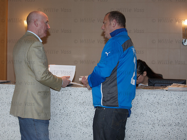 John Brown and Craig Houston at Ibrox Stadium this morning handing in their petition to the board of directors