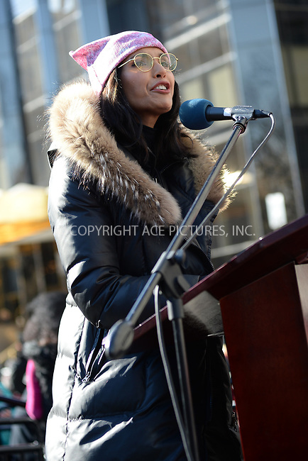 www.acepixs.com<br /> January 20, 2018  New York City<br /> <br /> Padma Lakshmi speaks to crowds of protesters at the Women's March on January 20, 2018 in New York City.<br /> <br /> Credit: Kristin Callahan/ACE Pictures<br /> <br /> Tel: 646 769 0430<br /> Email: info@acepixs.com