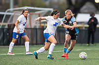 Allston, MA - Saturday, May 07, 2016: Boston Breakers defender Mollie Pathman (20) and Chicago Red Stars midfielder Alyssa Mautz (4) during a regular season National Women's Soccer League (NWSL) match at Jordan Field.