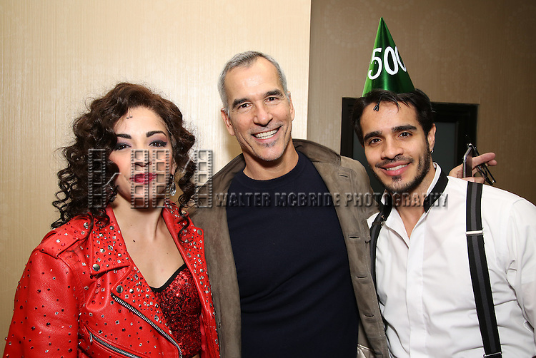 Ana Villafañe with director Jerry Mitchell and Ektor Rivera of the Broadway production of 'On Your Feet!' celebrate their 500th performance at Marquis Hotel  on January 18, 2017 in New York City.