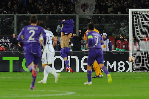26.02.2015.  Florence, Italy. Europa League Football. Fiorentina versus Tottenham Hotspur. Mohamed Salah celebrates after the goal for 2-0 from a slip by Vertonghen