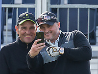former England cricketer Darren Gough takes a selfie with teammate footballer turned actor Vinnie Jones during the GOLFSIXES ProAm  at Centurion Club, St Albans, England on 5 May 2017. Photo by Andy Rowland.