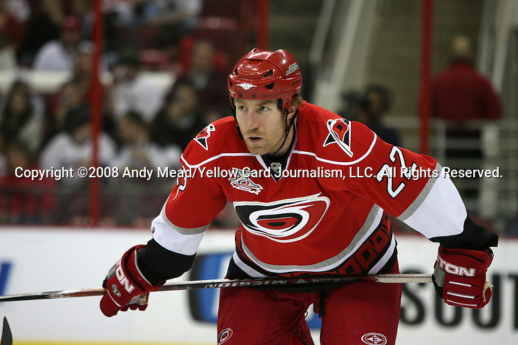 10 January 2008: Carolina's Mike Commodore. The New Jersey Devils defeated the Carolina Hurricanes 4-1 at the RBC Center in Raleigh, North Carolina in a 2007-08 National Hockey League regular season game.