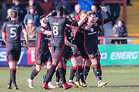 Robbie Muirhead of MK Dons (right) celebrates after he scores the opening goal of the game during the Sky Bet League 1 match between Fleetwood Town and MK Dons at Highbury Stadium, Fleetwood, England on 24 February 2018. Photo by David Horn / PRiME Media Images