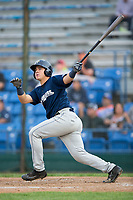 KJ Harrison (16) of the Helena Brewers follows through on his swing against the Great Falls Voyagers at Centene Stadium on August 19, 2017 in Helena, Montana.  The Voyagers defeated the Brewers 8-7.  (Brian Westerholt/Four Seam Images)