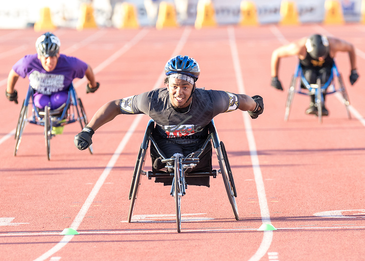 Carrtington Marendes of Woodville High School competes in the 100-meter wheelchair event at the UIL State Track and Field Meet at Mike A. Myers Stadium in Austin, Texas, on Friday, May 12, 2017.