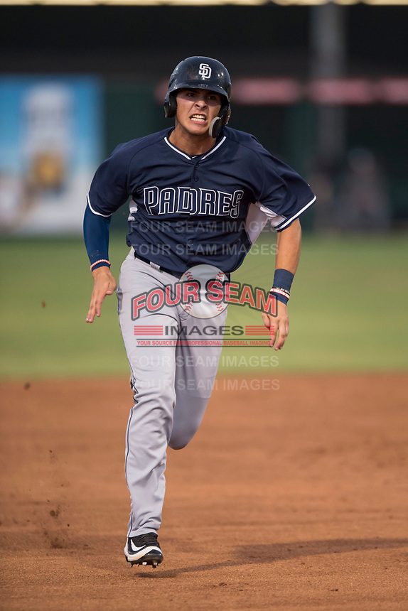 AZL Padres 2 right fielder Payton Smith (50) hustles to third base during an Arizona League game against the AZL Angels at Tempe Diablo Stadium on July 18, 2018 in Tempe, Arizona. The AZL Padres 2 defeated the AZL Angels 8-1. (Zachary Lucy/Four Seam Images)