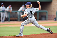 Princeton Rays starting pitcher Shane Baz (11) delivers a pitch during game two of the Appalachian League Championship Series against the Elizabethton Twins at Joe O'Brien Field on September 5, 2018 in Elizabethton, Tennessee. The Twins defeated the Rays 2-1 to win the Appalachian League Championship. (Tony Farlow/Four Seam Images)