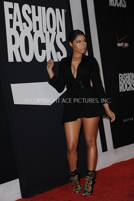 WWW.ACEPIXS.COM<br /> September 9, 2014 New York City<br /> <br /> Nicki Minaj attending Fashion Rocks 2014 at the Barclays Center on September 9, 2014 in New York City.<br /> <br /> Please byline: Kristin Callahan/AcePictures<br /> <br /> ACEPIXS.COM<br /> <br /> Tel: (212) 243 8787 or (646) 769 0430<br /> e-mail: info@acepixs.com<br /> web: http://www.acepixs.com