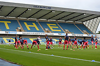 Stevenage players warm up  during Millwall vs Stevenage, Caraboa Cup Football at The Den on 8th August 2017