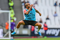 Kyle Walker of Manchester City warms up ahead of the Premier League match between West Ham United and Manchester City at the London Stadium, London, England on 10 August 2019. Photo by David Horn.