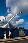 Samuel Beckett Bridge, Dublin, before installation, following it's arrival from the Netherlands. Constructed by Graham Hollandia Joint Venture, architect, Santiago Calatrava. 120 metres long and 48 metres high and weighs 5,700 tonnes.