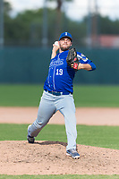 Team Italy relief pitcher Filippo Crepaldi (19) delivers a pitch during an exhibition game against the Oakland Athletics at Lew Wolff Training Complex on October 3, 2018 in Mesa, Arizona. (Zachary Lucy/Four Seam Images)