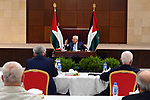Palestinian President Mahmoud Abbas, attends the meeting of the Palestinian leadership, in the West Bank city of Ramallah, on May 19, 2020. Photo by Thaer Ganaim