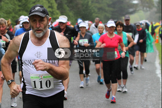 Start of walk section of Half Marathon &amp; Road Relay, Rabbit Island, SI Masters Games, 22 October 2011, Nelson, New Zealand<br /> Photo: Marc Palmano/shuttersport.co.nz