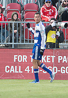 06 April 2013: FC Dallas forward Blas Perez #7 celebrates after scoring a goal during an MLS game between FC Dallas and Toronto FC at BMO Field in Toronto, Ontario Canada..The game ended in a 2-2 draw..