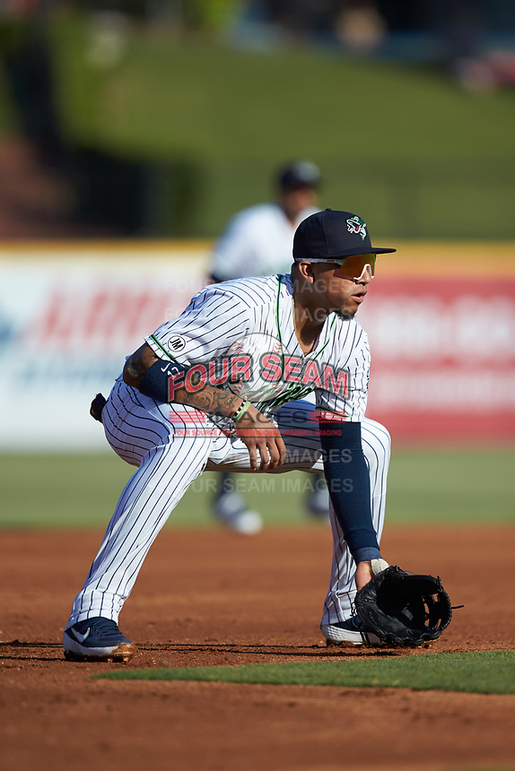 Gwinnett Stripers third baseman Johan Camargo (17) on defense against the Scranton/Wilkes-Barre RailRiders at BB&T BallPark on August 17, 2019 in Lawrenceville, Georgia. The Stripers defeated the RailRiders 8-7 in eleven innings. (Brian Westerholt/Four Seam Images)