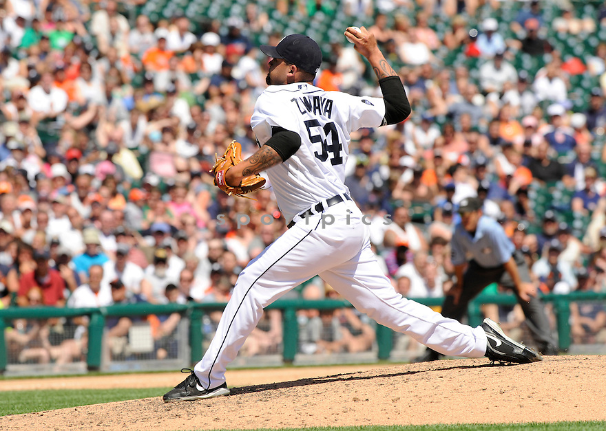 JOEL  ZUMAYA,  of the Detroit Tigers  in action  during the Tigers game against the Oakland A's.  The Tigers beat the A's 10-2 in Detroit, Michigan on May 30, 2010...David Durochik