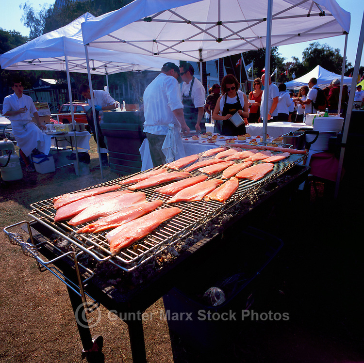Vancouver, BC, British Columbia, Canada - Salmon Barbecue at Pink Salmon Festival at Vanier Park / Hadden Park on Kits Point in Kitsilano