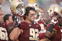 Boston College Eagles defensive lineman Dillon Quinn (#92) and his teammates acknowledge fans following a game versus the Wake Forest Demon Deacons at Alumni Stadium in Chestnut Hill, Massachusetts on October 1, 2011.Wake Forest would defeat the Eagles 27-19.Photo By Ken Babbitt/Four Seam Images