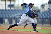 Tampa Bay Rays pitcher Diego Castillo (86) during an Instructional League game against the Minnesota Twins on September 16, 2014 at Charlotte Sports Park in Port Charlotte, Florida.  (Mike Janes/Four Seam Images)