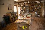 Hauser and Wirth art gallery, restaurant and garden, Durslade Farm, Bruton, Somerset, England, UK book shop interior