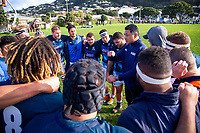 Auckland assistant coach Filo Tiatia talks to the forwards at halftime during the Mitre 10 Cup preseason rugby match between the Wellington Lions and Auckland at Evan's Bay Park in Wellington, New Zealand on Friday, 3 August 2018. Photo: Dave Lintott / lintottphoto.co.nz
