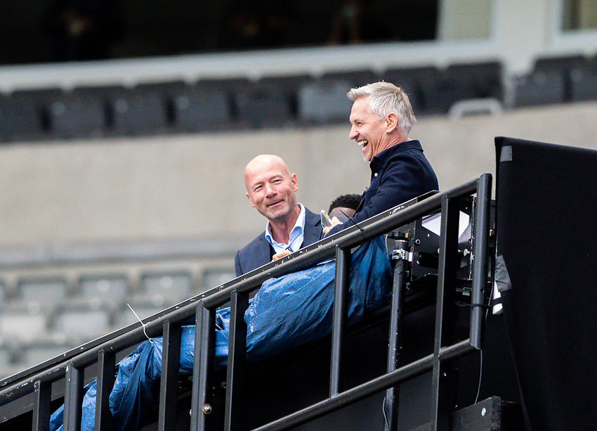 Alan Shearer and Gary Lineker share a joke from their makeshift BBC studio<br /> <br /> Photographer Alex Dodd/CameraSport<br /> <br /> FA Cup Quarter-Final - Newcastle United v Manchester City - Sunday 28th June 2020 - St James' Park - Newcastle<br />  <br /> World Copyright © 2020 CameraSport. All rights reserved. 43 Linden Ave. Countesthorpe. Leicester. England. LE8 5PG - Tel: +44 (0) 116 277 4147 - admin@camerasport.com - www.camerasport.com
