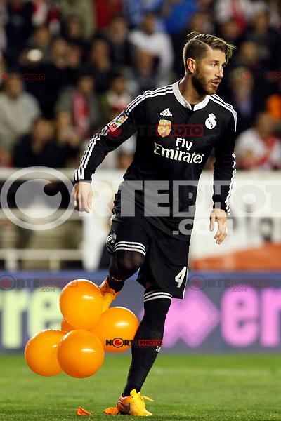 Sergio Ramos of Real Madrid during La Liga match between Rayo Vallecano and Real Madrid at Vallecas Stadium in Madrid, Spain. April 08, 2015. (ALTERPHOTOS/Caro Marin) /NORTEphoto.com