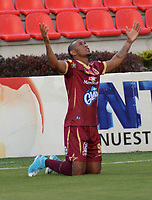 IBAGUE-COLOMBIA,20-07-2017.  Angelo Rodríguez jugador del Deportes Tolima celebra su gol anotado a Alianza Petrolera durante encuentro  por la fecha 3 de la Liga Aguila II 2017 disputado en el estadio Manuel Murillo Toro de Ibagué/ Angelo Rodriguez player of Deportes Tolima celebrates his goal agaisnt of  Alianza Petrolera   during match for the date 3 of the Aguila League II 2017 played at Manuel Murillo Toro in  Ibague. Photo:VizzorImage / Juan Carlos Escobar  / Cont