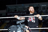 WWE superstar Sami Zayn looks to the crowd before his match against Mike Kanellis at a WWE Live Summerslam Heatwave Tour event at the MassMutual Center in Springfield, Massachusetts, USA, on Mon., Aug. 14, 2017. Zayn won the match.