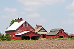 Red barns, plowed fields, rural Ill.