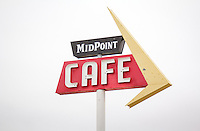 The Midpoint Cafe in Adrian Texas sits at the halfway point on Route 66.