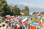 Big crowds cheer on the riders during the Women Elite Road Race of the 2018 UCI Road World Championships running 156.2km from Kufstein to Innsbruck, Innsbruck-Tirol, Austria 2018. 29th September 2018.<br /> Picture: Innsbruck-Tirol 2018/Sebastian Schels | Cyclefile<br /> <br /> <br /> All photos usage must carry mandatory copyright credit (&copy; Cyclefile | Innsbruck-Tirol 2018/Sebastian Schels)