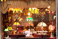 Antique and lamp repair storefront window display, Snohomish, Snohomish County, Washington, US