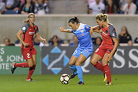 Bridgeview, IL - Saturday August 12, 2017: Vanessa DiBernardo, Amandine Henry during a regular season National Women's Soccer League (NWSL) match between the Chicago Red Stars and the Portland Thorns FC at Toyota Park. Portland won 3-2.