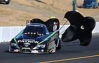 Jul. 27, 2013; Sonoma, CA, USA: NHRA funny car driver Alexis DeJoria during qualifying for the Sonoma Nationals at Sonoma Raceway. Mandatory Credit: Mark J. Rebilas-