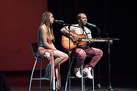 "Sophia Brown '20 and Alex Levers '19 covered Stephen Marley's ""No Cigarette Smoking (In My Room)"" to loud applause.<br /> Occidental College students perform and compete during Apollo Night, one of Oxy's biggest talent showcases, on Feb. 24, 2017 in Thorne Hall. Sponsored by ASOC and hosted by the Black Student Alliance as part of Black History Month.<br /> (Photo by Marc Campos, Occidental College Photographer)"